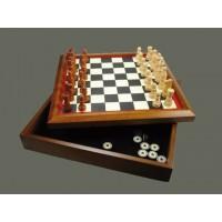 Juego ajedrez con backgammon y damas madera