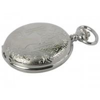 Reloj bolsillo cromado con grabados en relieve