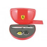 Set bolígrafo más llavero Ferrari Maranello en cromo.