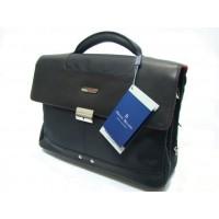 Maletín portadocumentos piel y lona Miguel Bellido negro (Leather Briefcase) frente
