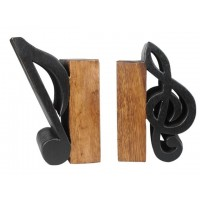 Sujetalibros madera nota musical