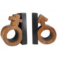 Sujetalibros madera símbolo hombre y mujer