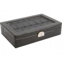 Caja guarda relojes 12 unds color negro