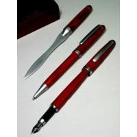 Juego de bolígrafo, pluma y abrecartas en madera