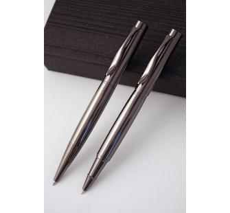 Juego de bolígrafo y roller anodizado en negro